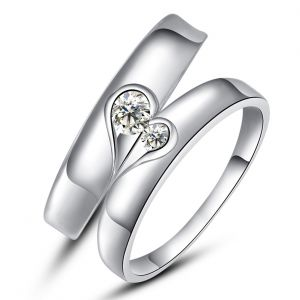 Kiara Jewellery Sterling Silver Swarovski Zirconia Couple Ring Kir0249