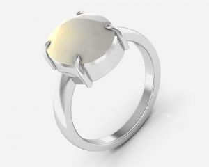 Kiara Jewellery Certified Moonstone 5.5 Cts Or 6.25 Ratti Moonstone Ring