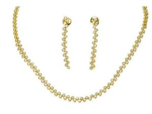 3.60 Ct. Diamond 14k Yellow Gold Necklace Set