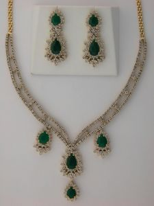 Diamond Emerald Anniversary Necklace Set