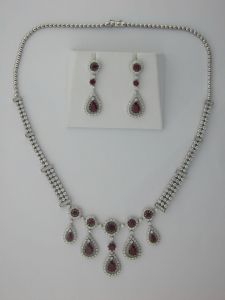 57.05 Ct. Diamond Ruby 14k White Gold Necklace