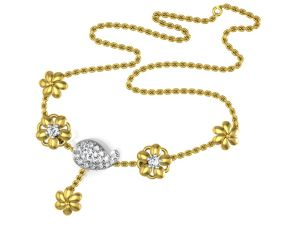 Gold Necklace Sets - Avsar Real Gold and Cubic Zirconia Stone( Code - Necklace16YBN )