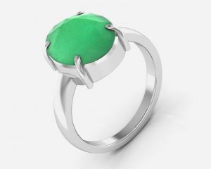Kiara Jewellery Certified Haqiq 7.5 Cts Or 8.25 Ratti Green Onyx Ring