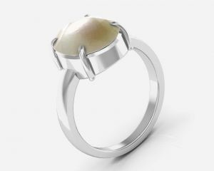 Kiara Jewellery Certified Moti 7.5 Cts Or 8.25 Ratti Pearl Ring