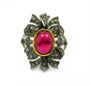 2.58 Ct Real Diamond Created Ruby Victorian Ring