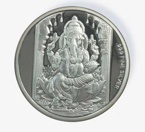 Triveni,Platinum,Jagdamba,Ag,Estoss,Surat Diamonds,Bikaw,E retailer Women's Clothing - 15 GM AG 999 PURE SILVER COIN