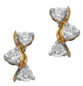 Tarang Real Diamond Three Stone Leaf Shape Earring # Tae007