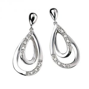 Tarang Real Diamond Twelve Stone Two Pear Earring # Tae009