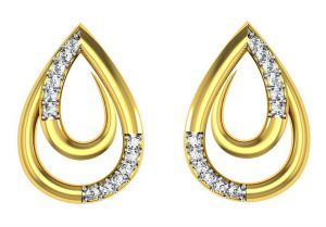 Avsar Real Gold And Swarovski Stone Deepti Earring Tae009yb