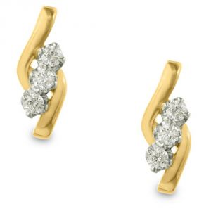 Tarang Real Diamond Three Stone Leaf Shape Earring Tae018