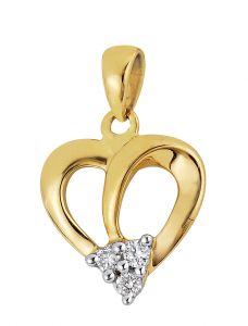 Tarang Real Diamond Three Stone Heart Pendant Tap011
