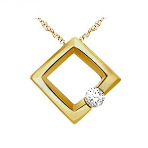 Tarang Real Diamond Single Stone Square Pendant Tap014