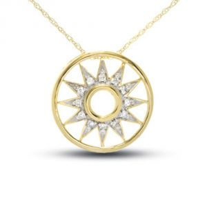 Tarang Real Diamond Twelve Stone Star Round Pendant Tap025