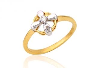 Tarang Real Diamond Single Stone Flower Ring Tar002