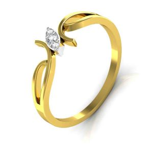 Avsar Real Gold And Swarovski Stone Pranali Ring Tar033yb
