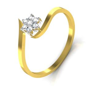 Avsar Real Gold And Swarovski Stone Channai Ring Tar037yb