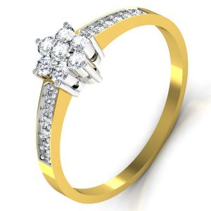 Gold Rings - Avsar Real Gold and Diamond Tamilnadu Ring TAR039A
