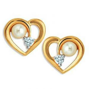 Heart Shape With Pearl And Diamond Uqe027