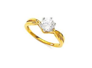 Unique Real Gold And Diamond Solitaire Ring