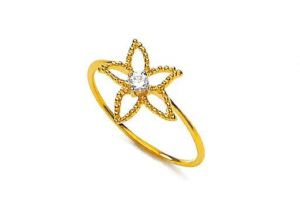 Unique Real Gold And Diamond Star Flower Ring