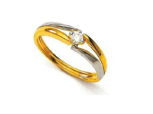 Unique Real Gold And Diamond Single Stone Ring
