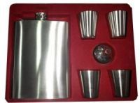 Mat Finish Stainless Steel 4 Mugs Hip Flasks