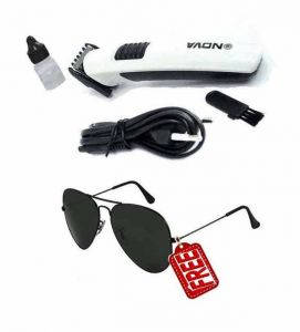 Nova Trimmer Rechargeable Shaving Machine With Aviator Sunglasses Free