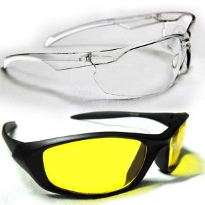 Outdoor Sports Night Vision Driving Yellow Sunglass White Transparent Gog