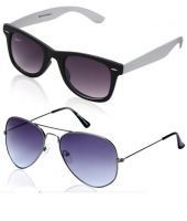Set Of 2 Sunglasses-cool Blue Silver Aviators And Black/white Wayfarers