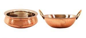 Steel Copper Set Of 1 Handi 750 Ml With 1 Kadhai Kadai 750 Ml - Serving Dishes Vegetables Tableware