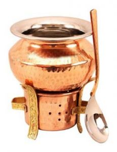 Set Of 1 Copper Brass Sigri, 1 Steel Copper Handi & 1 Spoon-food Warmer Serving Curry-serveware