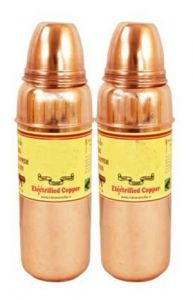 Pure Copper Set Of 2 Water Bottle 700 Ml Storage Water Good Health Yoga