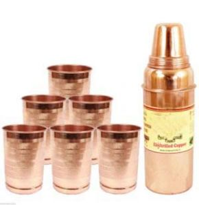 Aayurveda Handmade Pure Copper Set Of 6 Glass Cup And 1 Bottle