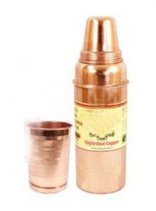 Pure Copper Water Bottle 700 Ml, 1 Glass Tumbler 300 Ml Storage Water