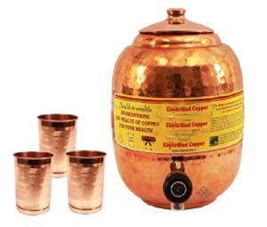Pure Copper Water Pot Tank Matka 5.5 Ltr. & 3 Glass Tumbler Cup 300 Ml