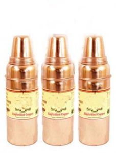 Set Of 3 Pure Copper Water Bottle - Storage Water Benefit Yoga Ayurveda