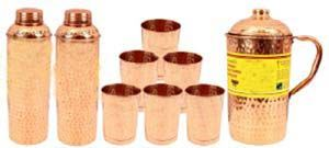 Copper Hammer 2 Bisleri Design Bottle 800 Ml Each With 6 Glass 300 Ml Each & 1 Jug 1500 Ml Yoga