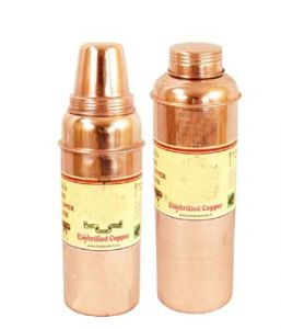 Pure Copper Set Of 2 Water Health Bottles 700 Ml For Storage Water Health