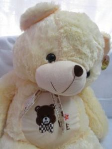 Teddy Bear Soft Toy 2.5 Feet With Ribbon Cream Color L23 W28 H75 Cms
