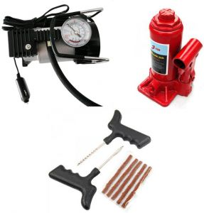 3 Ton Hydraulic Car Jack Autocut-off Premium Metal Air Compressor Tyre Punture Repair Kit Combo Combo