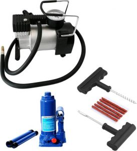 Indmart Metal Air Compressor Pump ,2ton Hydraulic Jack,1 Car Puncture Kit, Combo