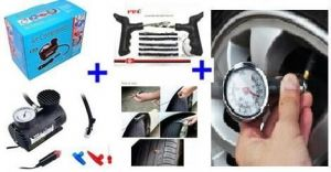 Air Compressor Tyre Guage Puncture Kit