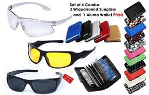 Cubee HD Vision Wrap Arround Combo Set Of 3 Sunglass And Aluma Wallet