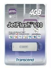 Portable Hard Drives (upto 160 GB) - 4GB V10 Pendrive TRANSCEND USB 2.0 Pen Drive