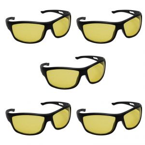 Quoface Day And Night Vision Yellow Sunglass Bike Goggles- Pack Of 5(product Code)qf-comnv703y5