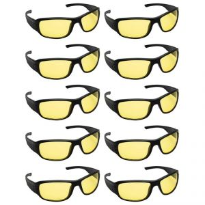 Quoface Day And Night Vision Yellow Sunglass Bike Goggles- Pack Of 10(product Code)qf-comnv702y10