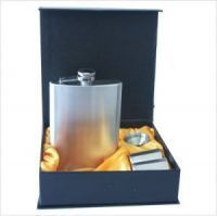 Stainless Steel Matt Finish Hip Flask And 2 Mugs