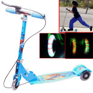 3 Wheeler Push Foldable Scooter Kick Board Kids Toys With Music Light Best Gift-02