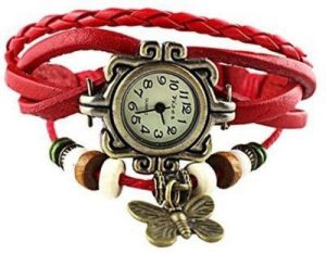 Red New Retro Vintage Pendant Fashion Leather Bracelet Women Watch