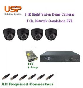 (usp) Set Of 4 Night Vision Cctv Dome Camera With 4 Ch. Channel Network Dvr